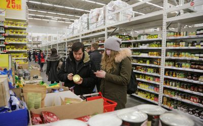 Shopping at Auchan hypermarket amid COVID-19 coronavirus pandemic
